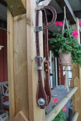 Hand Tooled Flat Sliding Ear Headstall with Sunburst Border