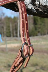 Doubled and Stitched Harness Leather Browband Headstall